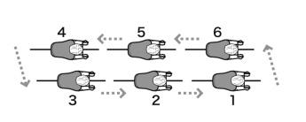 二列縦隊の図